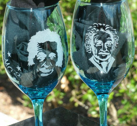Set of two Etched Blue Wine Glasses Quote of Albert by Studio569, $24.99