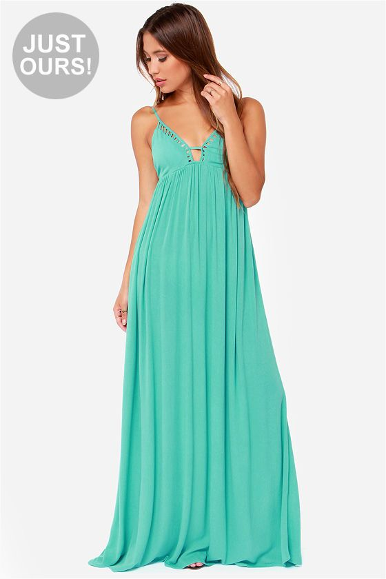 LULUS Exclusive Deep End Dive Turquoise Maxi Dress at LuLus.com!