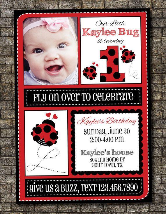 Ladybug Birthday Invitation, Girl Birthday Invitation 5x7 Custom, Digital, Printable on Etsy, $12.00