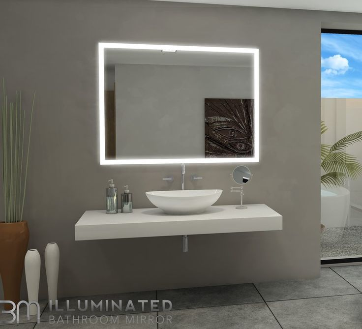Backlit Illuminated Mirror Size: h:48 x w:36 x d:2 inches  This product features 110 V wiring 3300 lumens 6000 K Led color Cool Daylight or 3000K warm color Nee