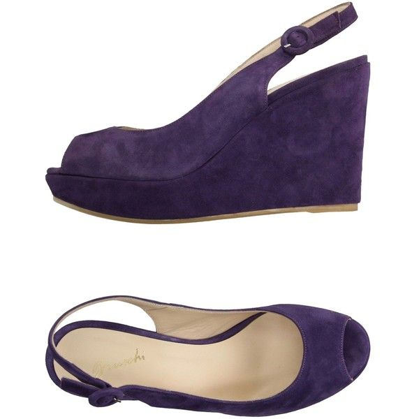 Bruschi Sandals ($115) ❤ liked on Polyvore featuring shoes, sandals, purple, leather sandals, leather shoes, purple shoes, wedge heel shoes and rubber sole sandals