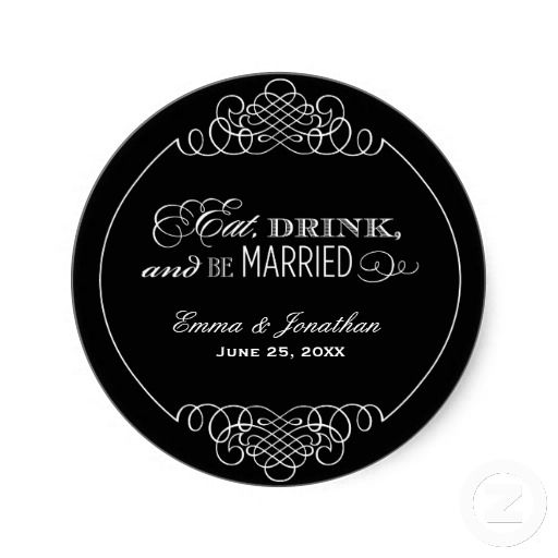 Wedding monogram eat drink be married favor classic round sticker