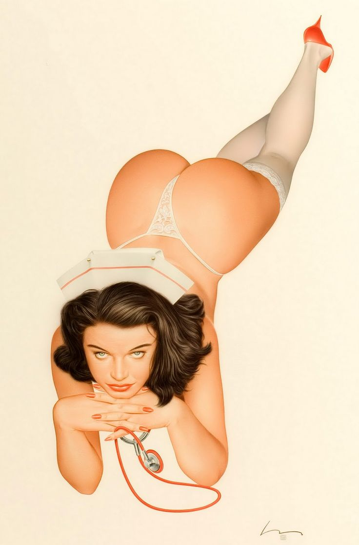 Vintage nurse pin-up by Alberto Vargas.