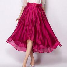 2016 mujeres del verano del resorte faldas de la gasa elegante Irregular falda de moda mujer mujeres alto bajo de la correa faldas expansión falda larga(China (Mainland))