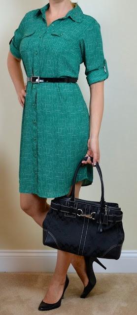 outfit post: green shirt dress, black pumps