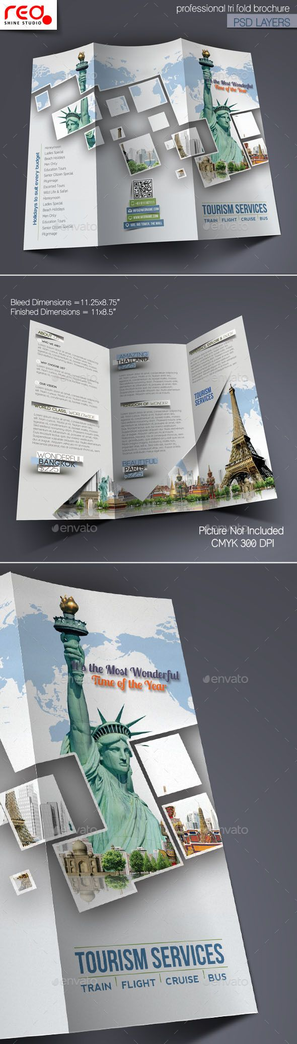 Tourism Service Trifold Brochure Template (CS, 8.5x11, ad, adventure poster, advertising, brochure, business, catalog, corporate, cover, elegant, exotic, guide, holidays, hotel presentation, journey, packages, pamphlet, promotion, stylish, template, tourism, tourist, travel agency, traveling, tri-fold, tri-fold brochure, trifold, tropical, vacations)
