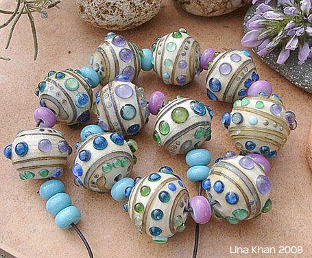 lina khan lampwork beads bahia chunky silver glass decoration on ivory rounds