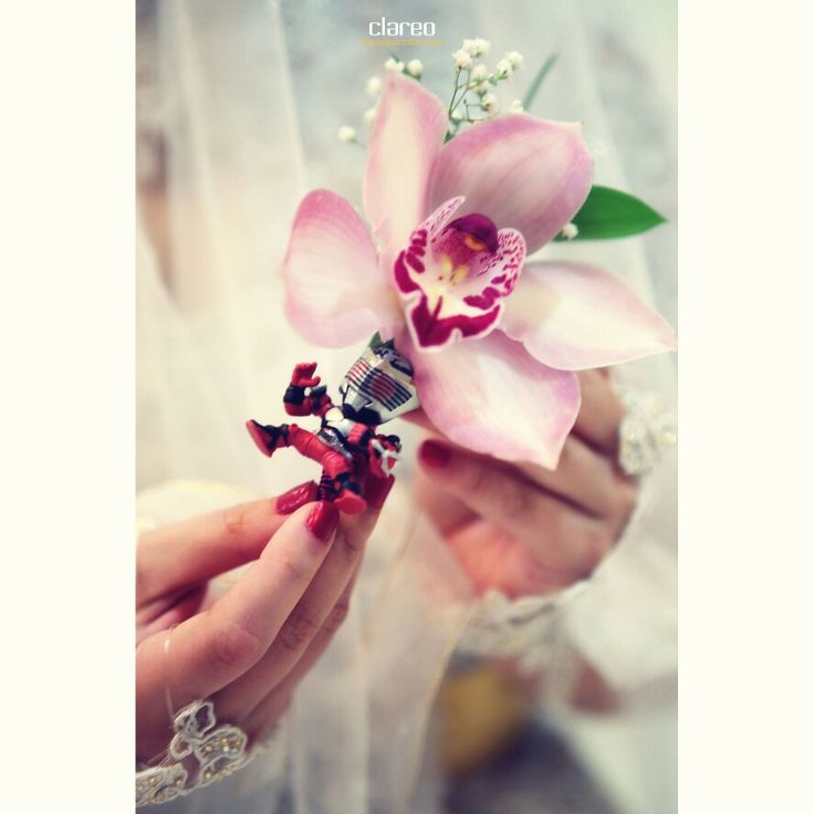 Pink cymbidium corsage on Benny & Dian wedding by Clareo