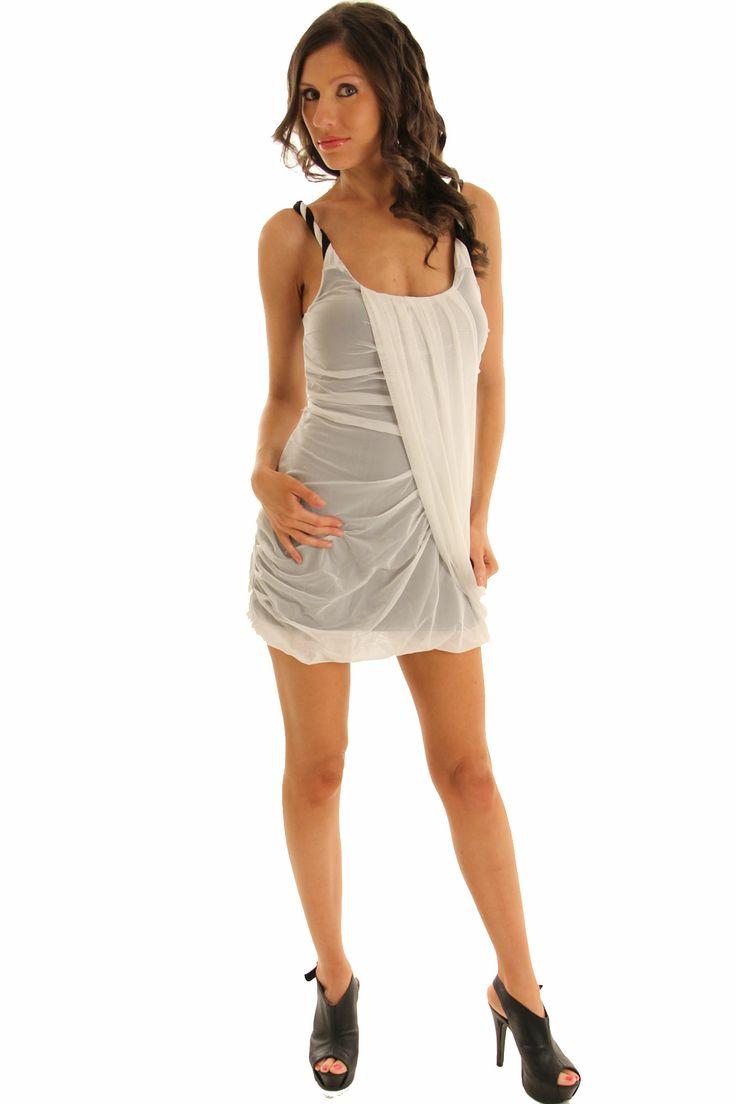 Clubwear Mini Dress White Black Stylish Twist Strap