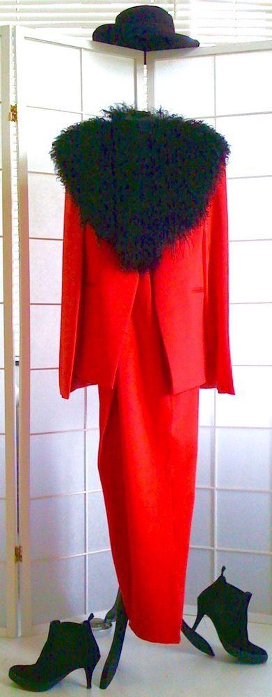 DAMEN-HOSENANZUG (CAPE+HOSE), rot, Gr.36, ohne Pelz in Kleidung & Accessoires, Damenmode, Anzüge & Kombinationen | eBay