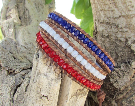 Patriotic Red, White and Blue wrap bracelet with Czech glass beads, distressed brown leather cord and American flag button