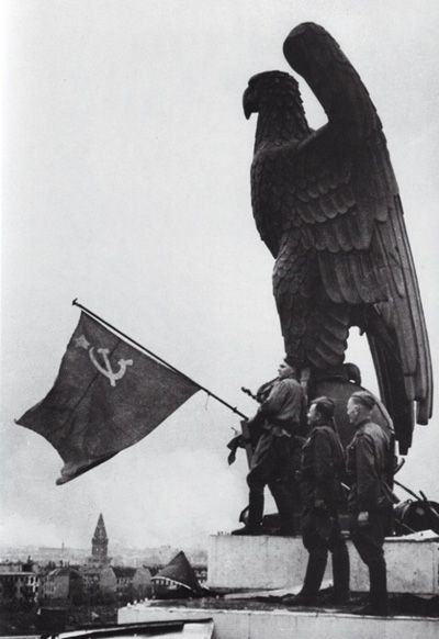 WWII Soviet flag in front of SS Eagle
