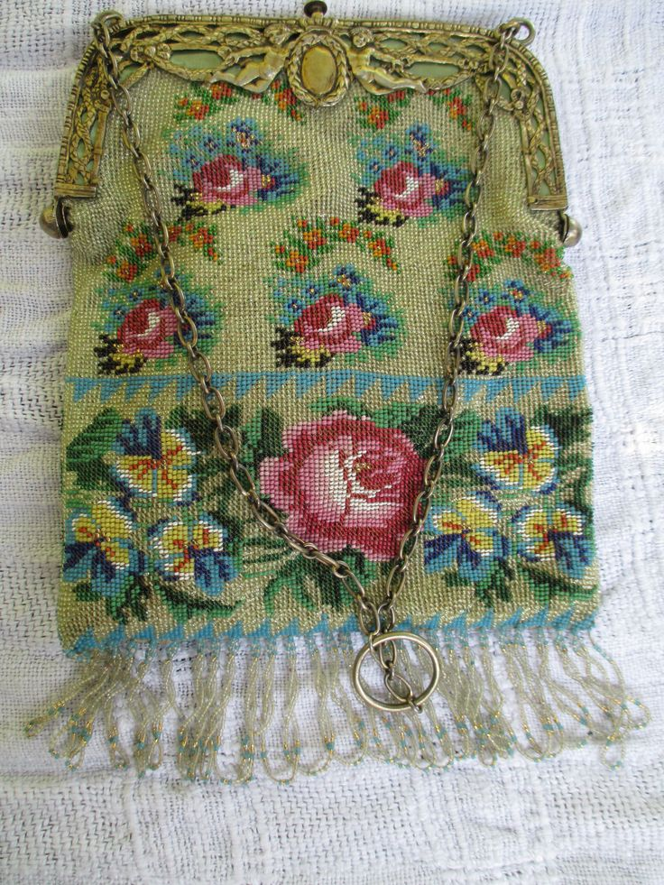 Beautiful Beaded Bag with Ornate Clasp.