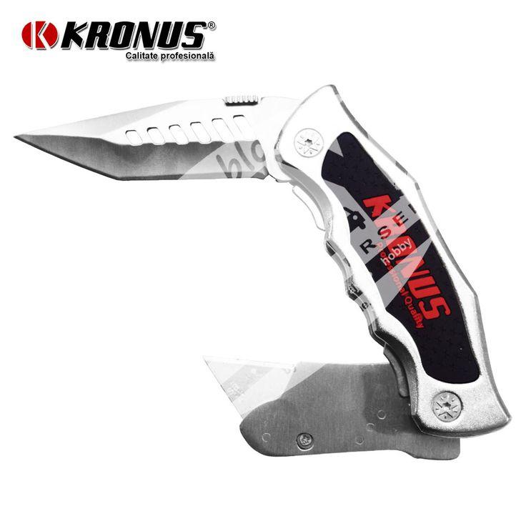Briceag pliabil cu cutit si cutter cu lama trapezoidala Kronus Tools art. 7556E