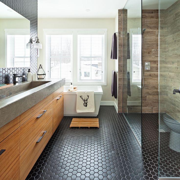 Heureux contrastes dans la salle de bain - Salle de bain - Inspirations - Décoration et rénovation - Pratico Pratique