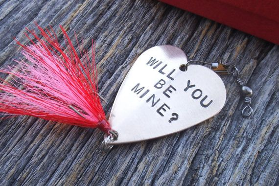 Valentines Fishing Lures for Valentines Day Girlfriend Boyfriend Valentine Gifts for Men Personalized Valentine Hand Stamped Spinner Baits