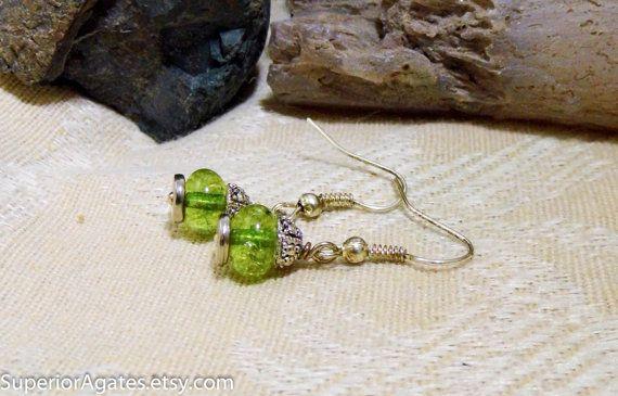 Green Tourmaline Silver Dangle Earrings ON SALE!!