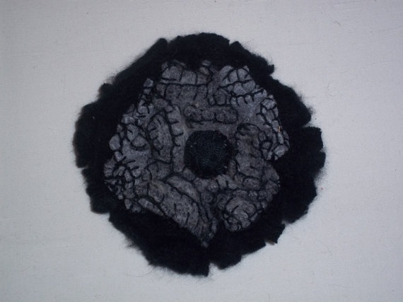 Grey wool flower brooch with mohair base by TzoFeltGood on Etsy, €28.00