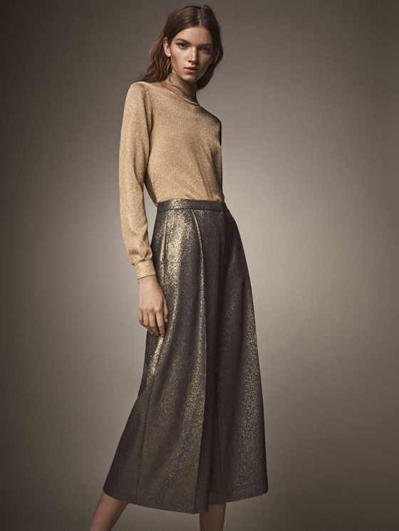 Spring Summer 2017 Women´s CULOTTE FIT LAMINATED TROUSERS at Massimo Dutti for 425. Effortless elegance!