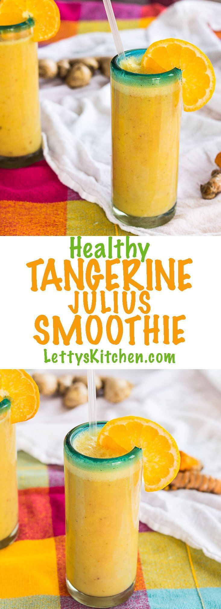 Vegan tangerine smoothie, healthy with almond milk, dates, turmeric and ginger with fresh squeezed tangerine julius.