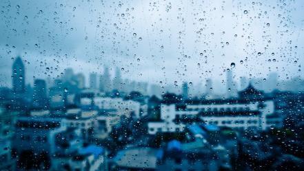 Water rain glass window panes cities drops wallpaper