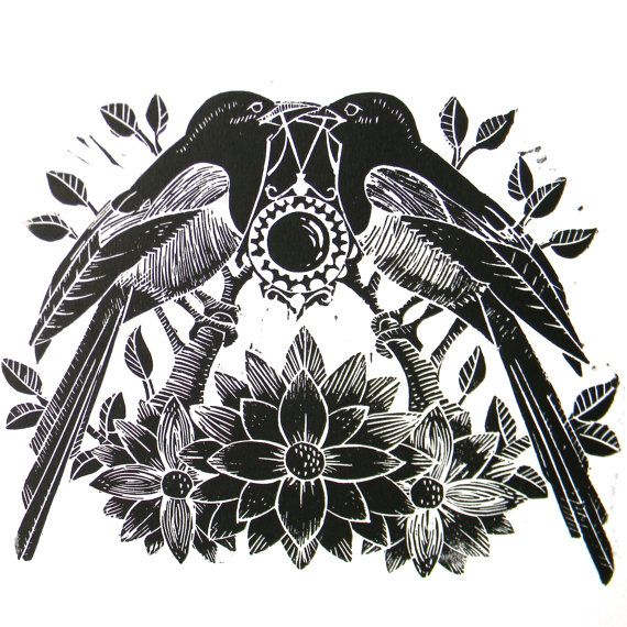 Two for Joy Magpie Original Linocut print black by mangleprints