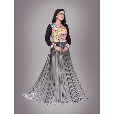 Inviting Party Wear Printed Gray Black Cotton Gown .It contained the work of embroidery wrok.This Semi Stitch Gown Which can be customzied up to bust size 42