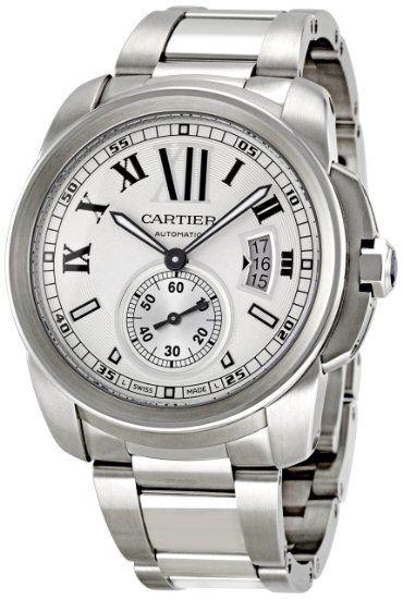 Cartier Men's W7100015 Calibre de Cartier Silver Opaline Dial Watch: Watches: Amazon.com
