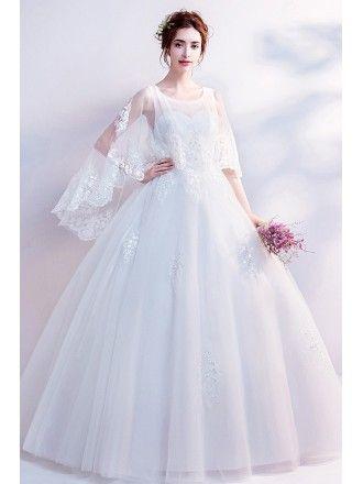 e48e5240bfa79 Dreamy Lace Cape Sleeves Big Ball Gown Wedding Dress Wholesale Price ...