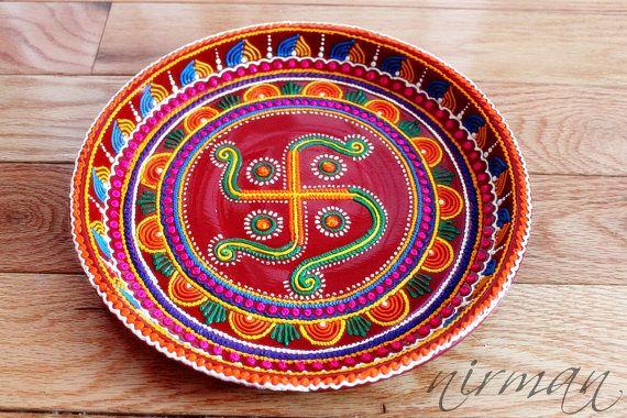 Swastika pooja thali decorative henna mehndi design thali for Aarti thali decoration with pulses