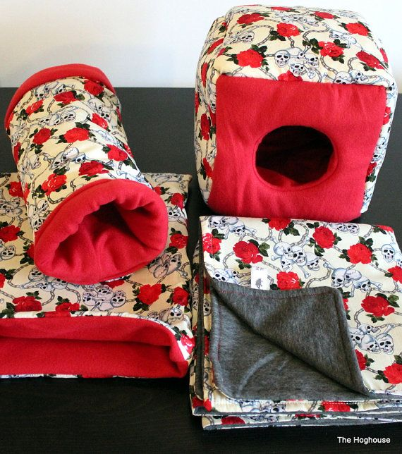 Skull Roses African Pygmy Hedgehog Bedding Cage Set by The Hoghouse   Cage Set includes 1 x cage liner, 1 x cube house, 1 x tunnel, 1 x snuggle sack/pouch