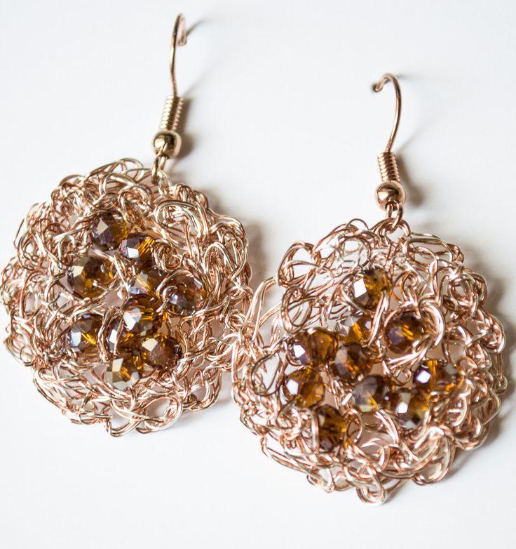 Copper Wire crochet earrings & Crystal by UnikacreazioniShop on Etsy