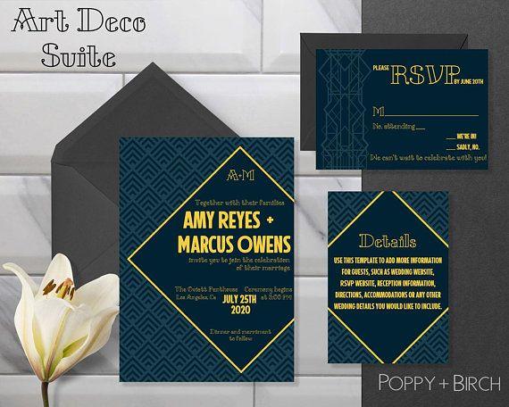 Blue And Gold Art Deco Wedding Invitation Suite Art Deco