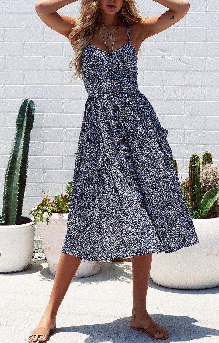 2018 new classic spaghetti straps midi dress – #Cl…