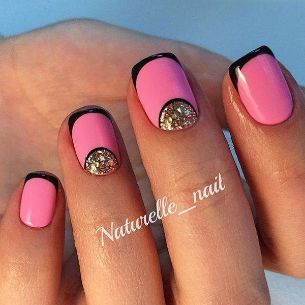 Look elegant and pretty for your summer get away with this design. The pretty pink colors are simply eye-catching and are further highlighted with the thin black French tips. You can then add silver glitter polish near the cuticles to make the design stand out even more.