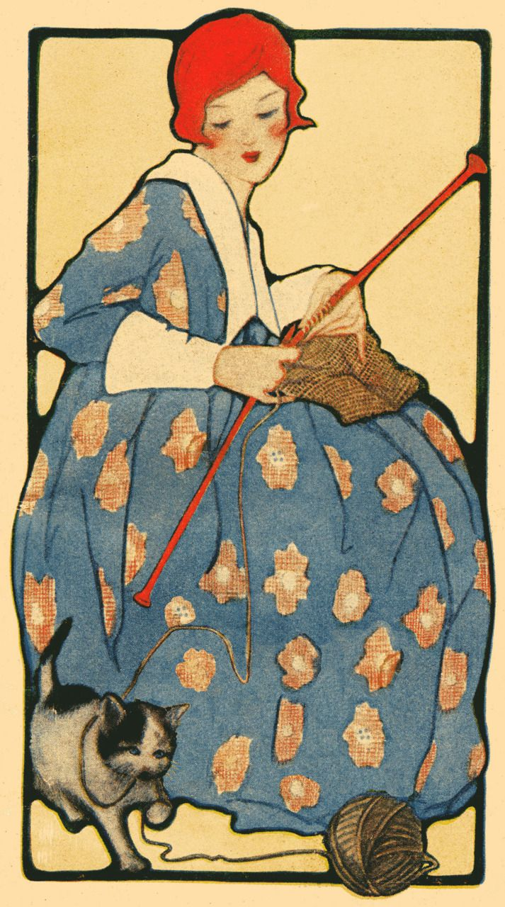 """whataboutbobbed: """" drawing of a redheaded woman knitting, while a cat plays with her ball of yarn, from a 1918 knitting booklet """""""