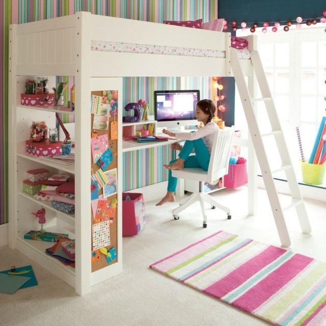 m dchen zimmer mit design hochbett wandtapete kinderzimmerideen pinterest hochbetten. Black Bedroom Furniture Sets. Home Design Ideas