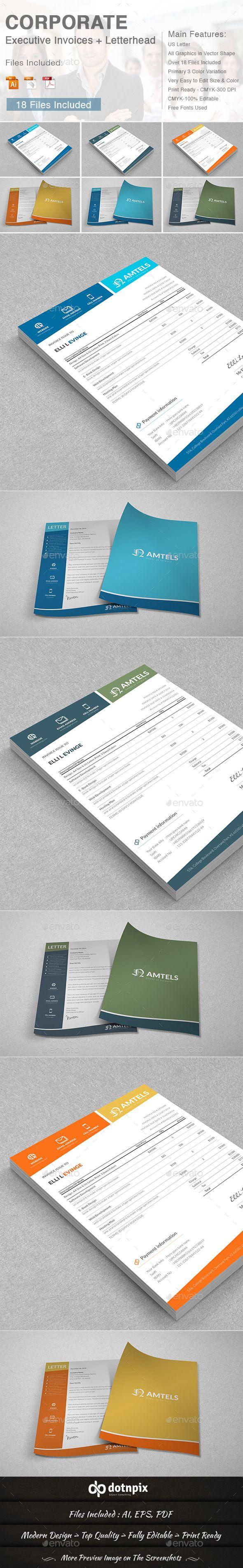 Corporate Executive Invoices + Letterhead Template #design Download: http://graphicriver.net/item/corporate-executive-invoices-letterhead/11274965?ref=ksioks