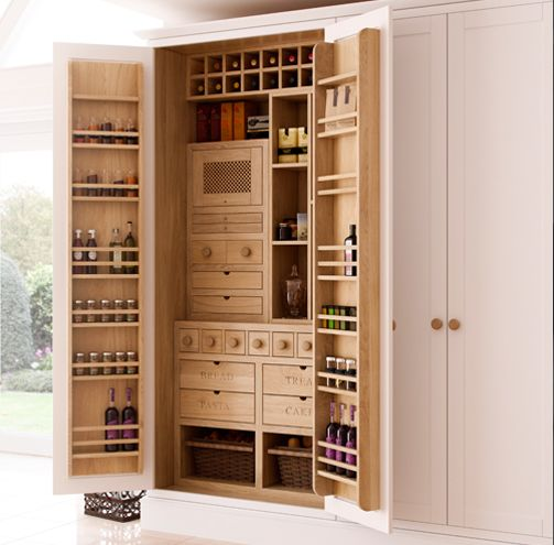 Best Oak Butler's Pantry Unit Displaying Internal Spice Drawers 640 x 480