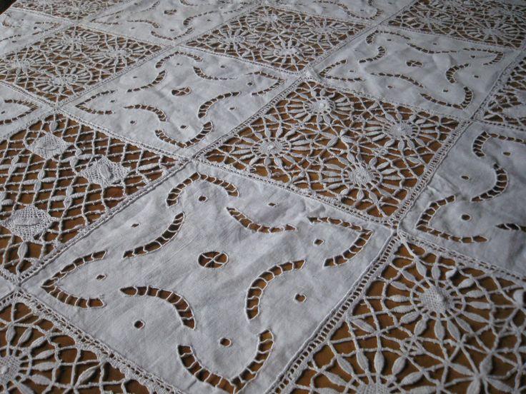 старинный французский льняная скатерть-мозаика-Бобинное кружево, Ришелье...   eBay