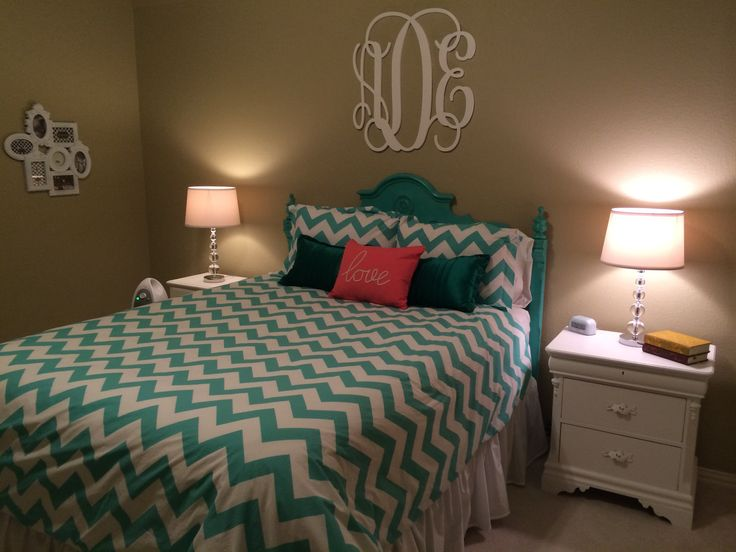 My New Teal And Coral Room Pottery Barn Teen Chevron