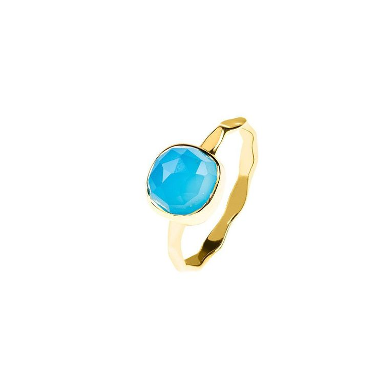 Gold Stacking Ring Blue Chalcedony