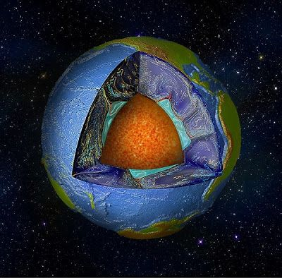 Cutaway of the Earth's surface, down to the liquid core. A numerical convection experiment shows blobs in green, surrounding mantle rock in blue, and former oceanic crust from the surface that has subducted into the interior in yellow. Credit: Dr. Mingming Li/University of Colorado