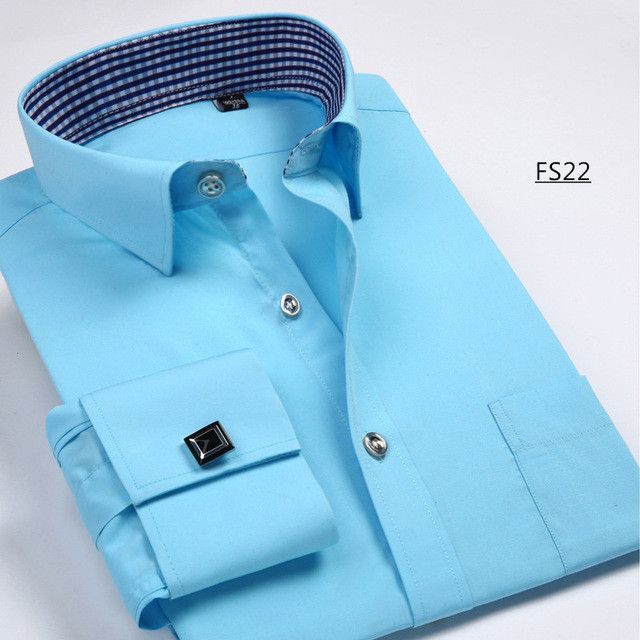 Men French Cufflinks Shirt New Men's Shirt Long Sleeve Casual Male Brand Shirts Slim Fit French Cuff Dress Shirts For Men