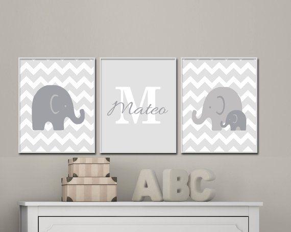 Elephant Nursery Art Print Baby Suits Gray And