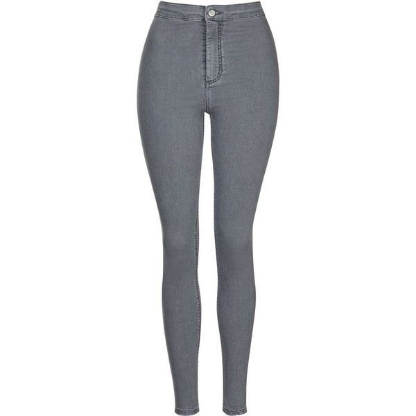 TOPSHOP MOTO Grey Joni Jeans ($65) ❤ liked on Polyvore featuring jeans, grey, topshop, high waisted skinny jeans, denim skinny jeans, highwaisted jeans and skinny leg jeans