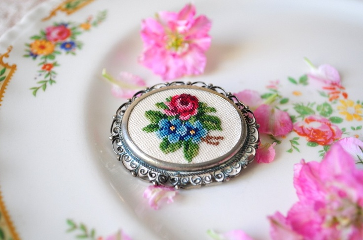 Garden roses.. vintage petit point brooch. $15.00, via Etsy.
