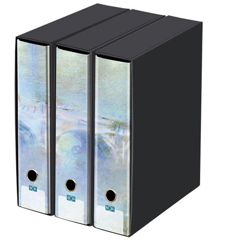 KAOS Lever Arch Files 2ring Binders with slipcase, Spine 8 cm, 3 pcs Set   - PONTE DI WATERLOO, CLAUDE MONET - 3 pcs Set Dimensions: 26.8x35x29 cm