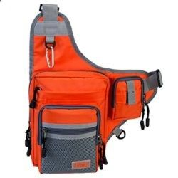 Piscifun® Fishing Tackle Bag Fishing Backpack Soft Sports Shoulder Bag – Great as Crossbody Messenger bag and Sling Bags (Orange)