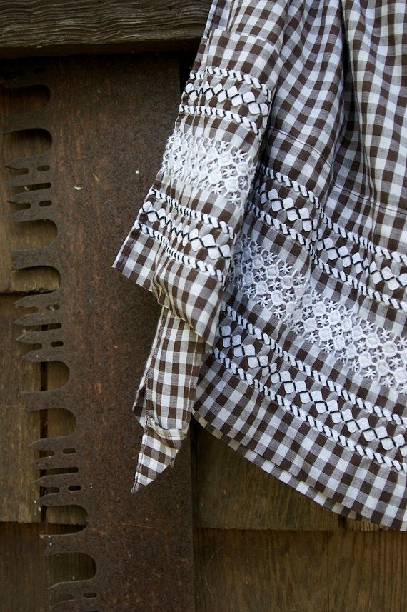 Gingham Apron Brown and White with by TheClockVineCloset on Etsy